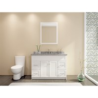 "Ariel Hamlet 49"" Single Sink Vanity Set with New Moss Green Granite Countertop - White F049S-WHT"