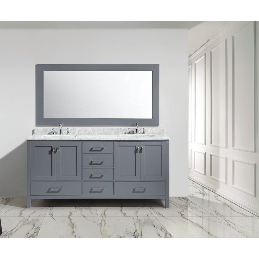 "Design Element London 72"" Double Sink Vanity Set - Graynohtin Sale $1899.00 SKU: DEC082B-G :"