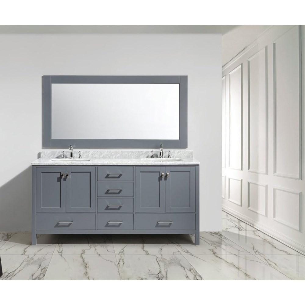 "Design Element London 72"" Double Sink Vanity Set - Graynohtin Sale $1899.00 SKU: DEC082B-G :"