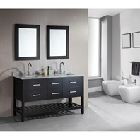 "Design Element London 61"" Double Vanity with Open Bottom, White Carrera Countertop, Sinks and Mirrors - Espresso DEC077C"