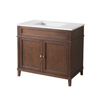 "Stufurhome Hamilton 37"" Single Sink Bathroom Vanity with White Quartz Top - Natural Wood TY-7615-37-QZ"