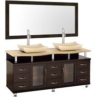 "Accara 72"" Double Bathroom Vanity with Mirror - Espresso w/ Ivory Marble Counter B706D-72-ESP-IVO"