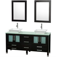 "Ella 63"" Double Bathroom Vanity Set - Espresso with Green Glass Counter OM-2101-63-ESP-GRN"