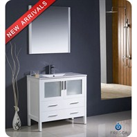 "Fresca Torino 36"" White Modern Bathroom Vanity with Undermount Sink FVN6236WH-UNS"