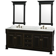 "Andover 80"" Traditional Bathroom Double Vanity Set by Wyndham Collection - Black WC-TD80-BLK"