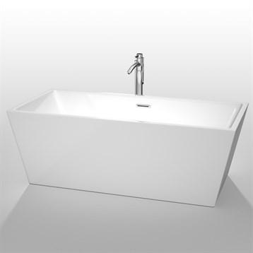 """Sara 67"""" Soaking Bathtub by Wyndham Collection, White WC-BTK1514-67 by Wyndham Collection®"""