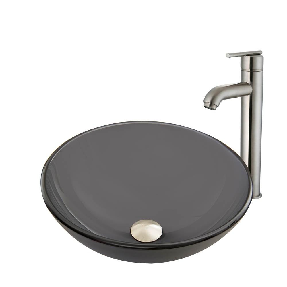 VIGO Sheer Black Frost Glass Vessel Sink and Seville Faucet Setnohtin Sale $215.90 SKU: VGT868- :