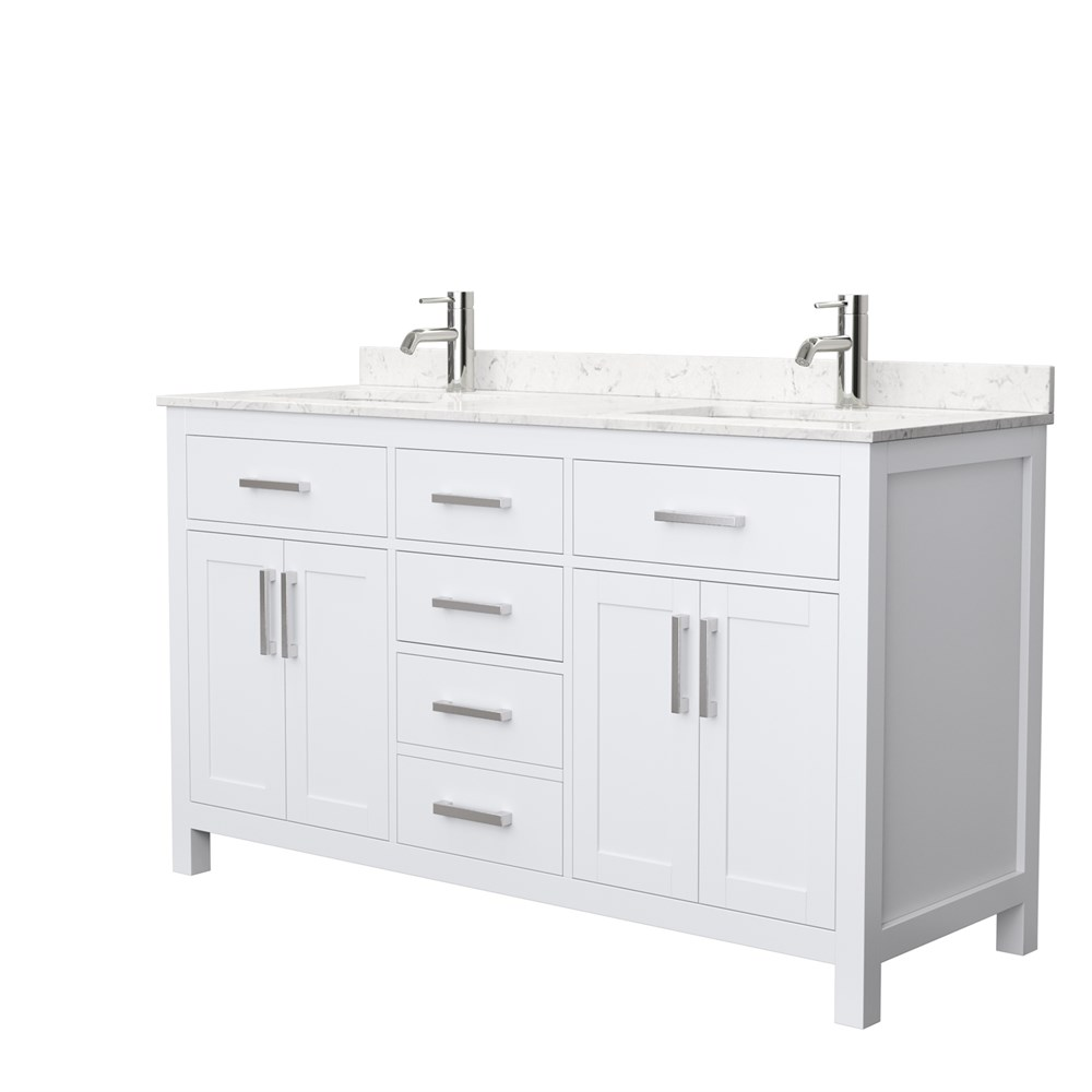 "Beckett 60"" Double Bathroom Vanity by Wyndham Collection - White WC-2424-60-DBL-VAN-WHT"