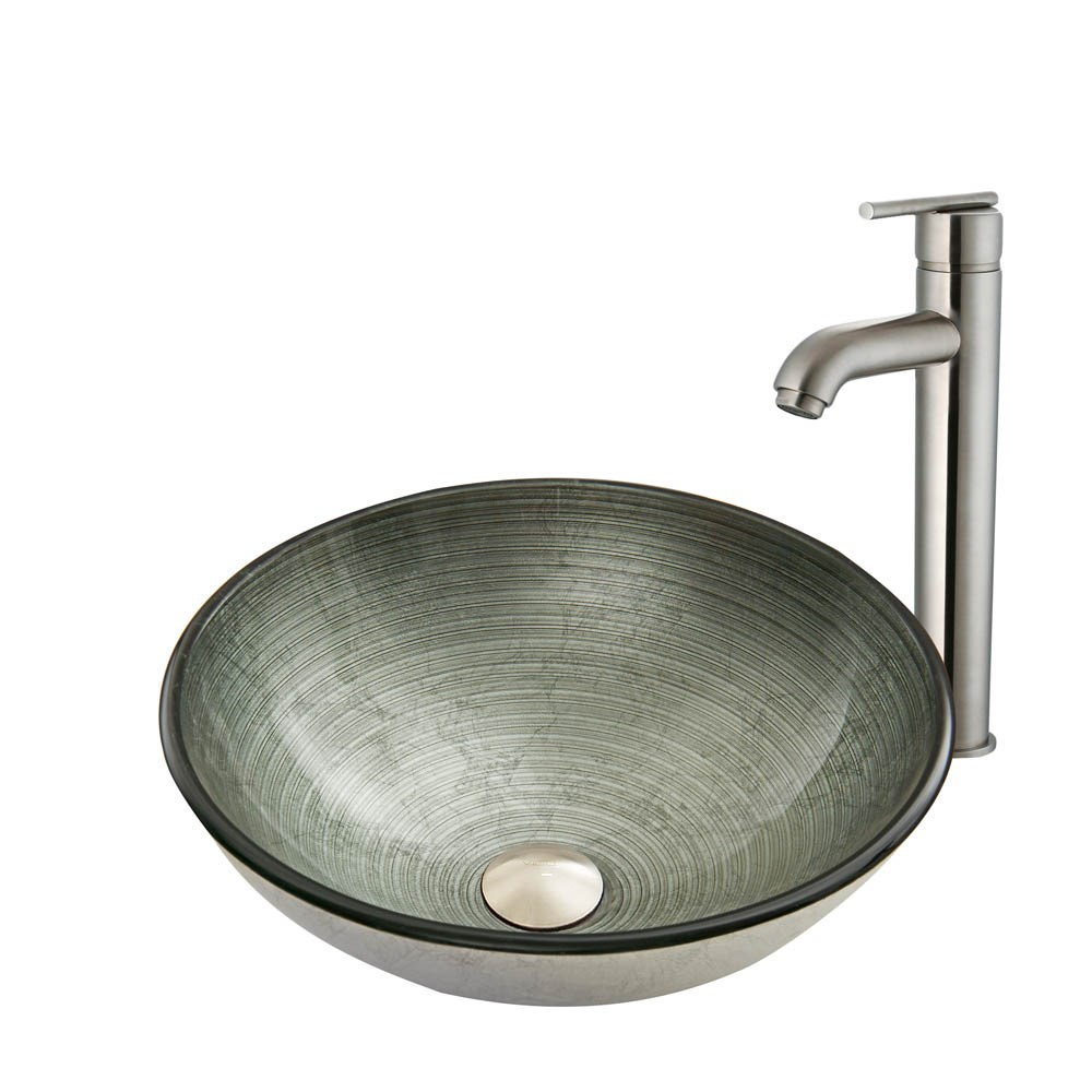 VIGO Simply Silver Glass Vessel Sink and Seville Faucet Setnohtin Sale $235.90 SKU: VGT838- :