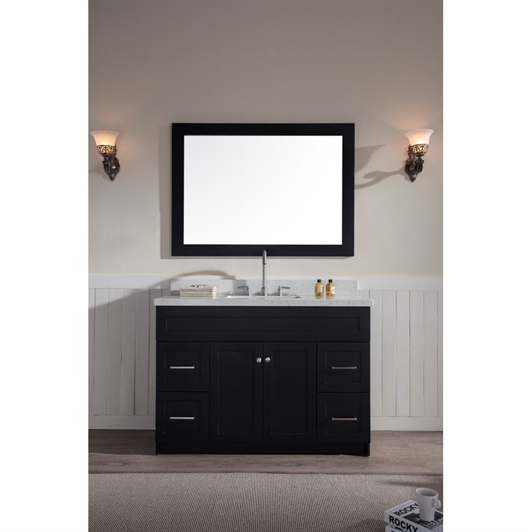 "Ariel Hamlet 49"" Single Sink Vanity Set with White Quartz Countertop in Black F049S-WQ-BLK"