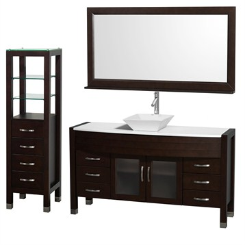 "Daytona 60"" Bathroom Vanity with Vessel Sink, Mirror and Cabinet by Wyndham Collection, Espresso... by Wyndham Collection®"