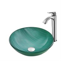 VIGO Whispering Wind Glass Vessel Sink and Linus Faucet Set in a Chrome Finish VGT882