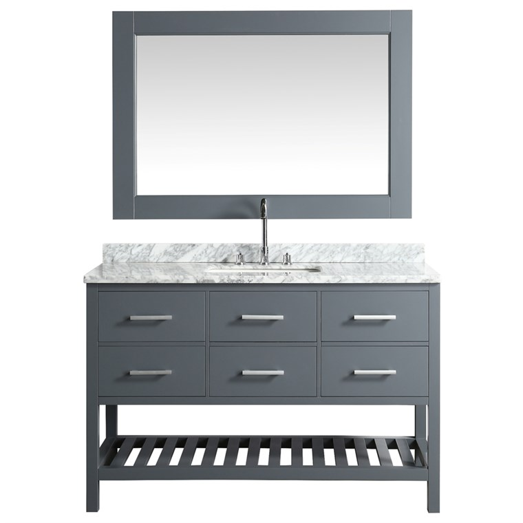 "Design Element London Cambridge 54"" Single Sink Vanity Set - Gray DEC077H-G-WT"