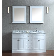 "Seacliff by Ariel Montauk 60"" Double Sink Vanity Set with Carrera White Marble Countertop - White SC-MON-60-SWH"