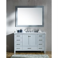 "Ariel Cambridge 55"" Single Sink Vanity Set with Rectangle Sink and Carrara White Marble Countertop - Grey A055S-CWR-GRY"