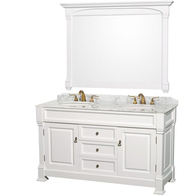 "Andover 60"" Traditional Bathroom Double Vanity Set by Wyndham Collection - White WC-TD60-WHT"