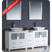 "Fresca Torino 72"" White Modern Double Sink Bathroom Vanity with Side Cabinet, Vessel Sinks, and Mirrors FVN62-301230WH-VSL"