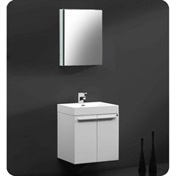Fresca Alto White Modern Bathroom Vanity with Medicine Cabinet FVN8058WH