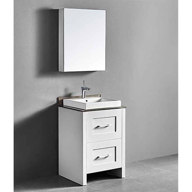 "Madeli Retro 24"" Bathroom Vanity for Glass Counter and Porcelain Basin - Matte White B700-24-001-MW-GLASS"
