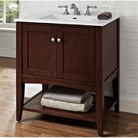 "Fairmont Designs Shaker Americana 30"" Vanity - Open Shelf for Integrated Top - Habana Cherry 1513-VH30-"