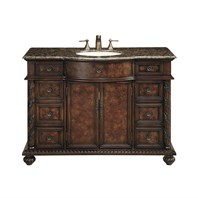 "Stufurhome 48"" Amelia Single Sink Vanity with Baltic Brown Granite Top - Cherry Red GM-5116-48-BB"
