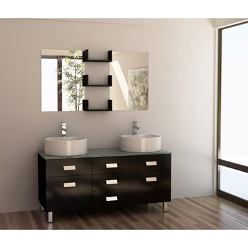 "Design Element Wellington 55"" Double Sink Vanity Set, Espresso DEC350 by Design Element"