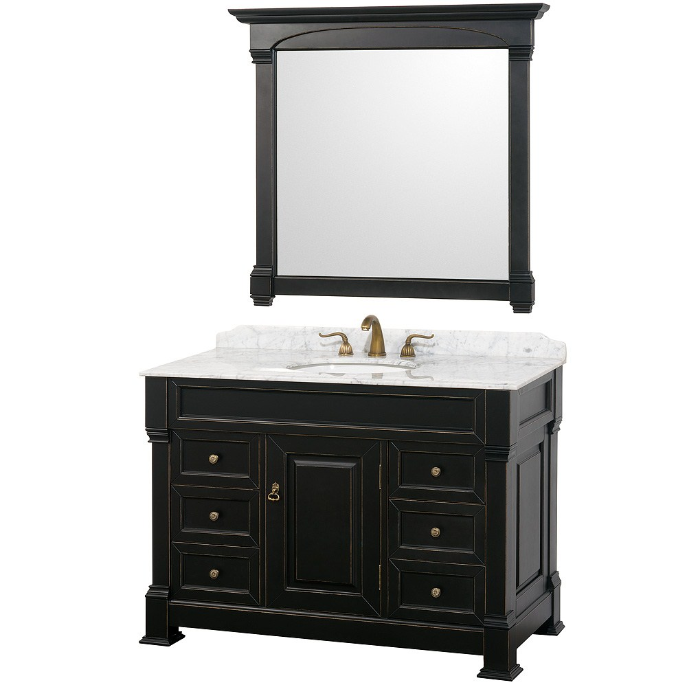 "Andover 48"" Traditional Bathroom Vanity Set by Wyndham Collection - Black WC-TS48-BLK"