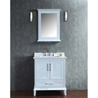 "Seacliff by Ariel Nantucket 30"" Single Sink Vanity Set with Pure White Quartz Countertop - White SC-NAN-30-SWH"