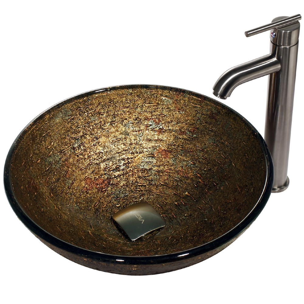 Vigo Textured Copper Glass Vessel Sink And Faucet Set In Brushed