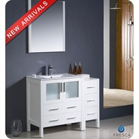 "Fresca Torino 42"" White Modern Bathroom Vanity with Side Cabinet & Integrated Sink FVN62-3012WH-UNS"