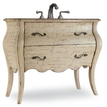 """Cole & Co. 41"""" Designer Series Collection Romantique Vanity - Antiqued Parchment"""