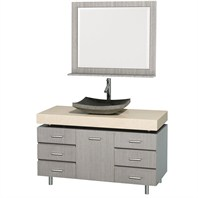 "Malibu 48"" Bathroom Vanity Set by Wyndham Collection - Gray Oak Finish with Ivory Marble Counter and Handles WC-CG3000H-48-GROAK-IVO"