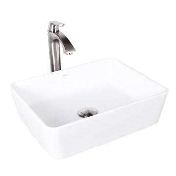 Vigo Sirena Matte Stone Vessel Sink and Linus Bathroom Vessel Faucet in Brushed Nickel VGT1012 by Vigo Industries