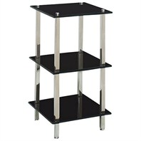 Three-Level Glass Bathroom Shelf - Black