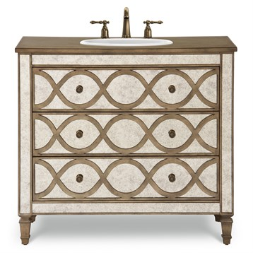 "Cole & Co. 40"" Designer Series Brooks Vanity - Mirrored With Aged Gold Accents"