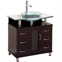 "Charlton 30"" Bathroom Vanity with Drawers - Espresso w/ Clear Glass Counter B701D-30-ESP"