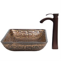 VIGO Rectangular Golden Greek Glass Vessel Sink and Otis Faucet Set in Oil Rubbed Bronze VGT285