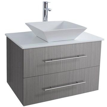 Bianca WallMounted Modern Bathroom Vanity Gray Oak Free - 30 grey bathroom vanity