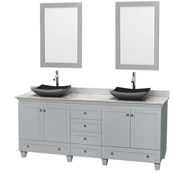"""Acclaim 80"""" Double Bathroom Vanity for Vessel Sinks by Wyndham Collection, Oyster Gray WC-CG8000-80-DBL-VAN-OYS by Wyndham Collection®"""