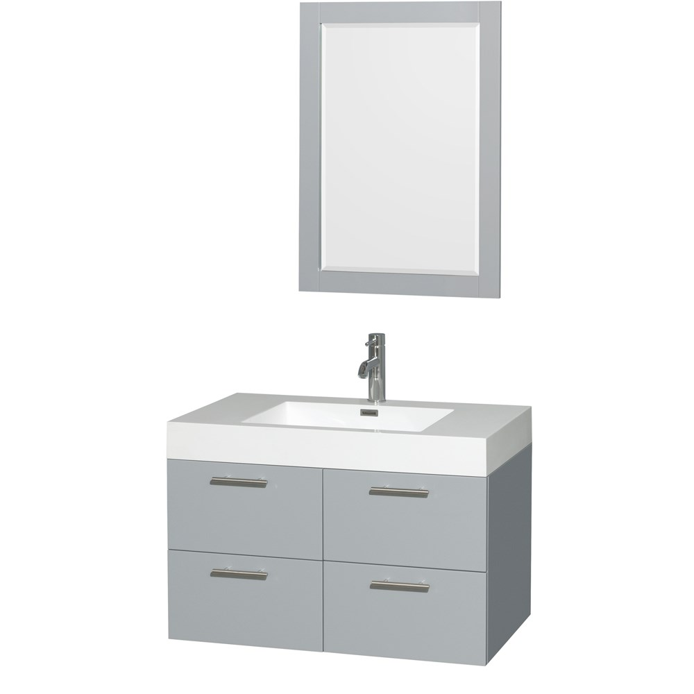 "Amare 36"" Single Bathroom Vanity in Dove Gray, Acrylic-Resin Countertop, Integrated Sink, and 24"" Mirror WCR410036SDGARINTM24"