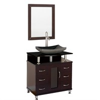 "Accara 30"" Bathroom Vanity - Espresso w/ Black Granite Counter and Sink B706D-30-ESP-BLK-GR"