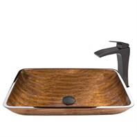 VIGO Rectangular Amber Sunset Glass Vessel Sink and Blackstonian Faucet Set in Antique Rubbed Bronze Finish VGT487