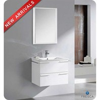 "Fresca Cielo 24"" White Modern Bathroom Vanity with Mirror FVN8114WH"