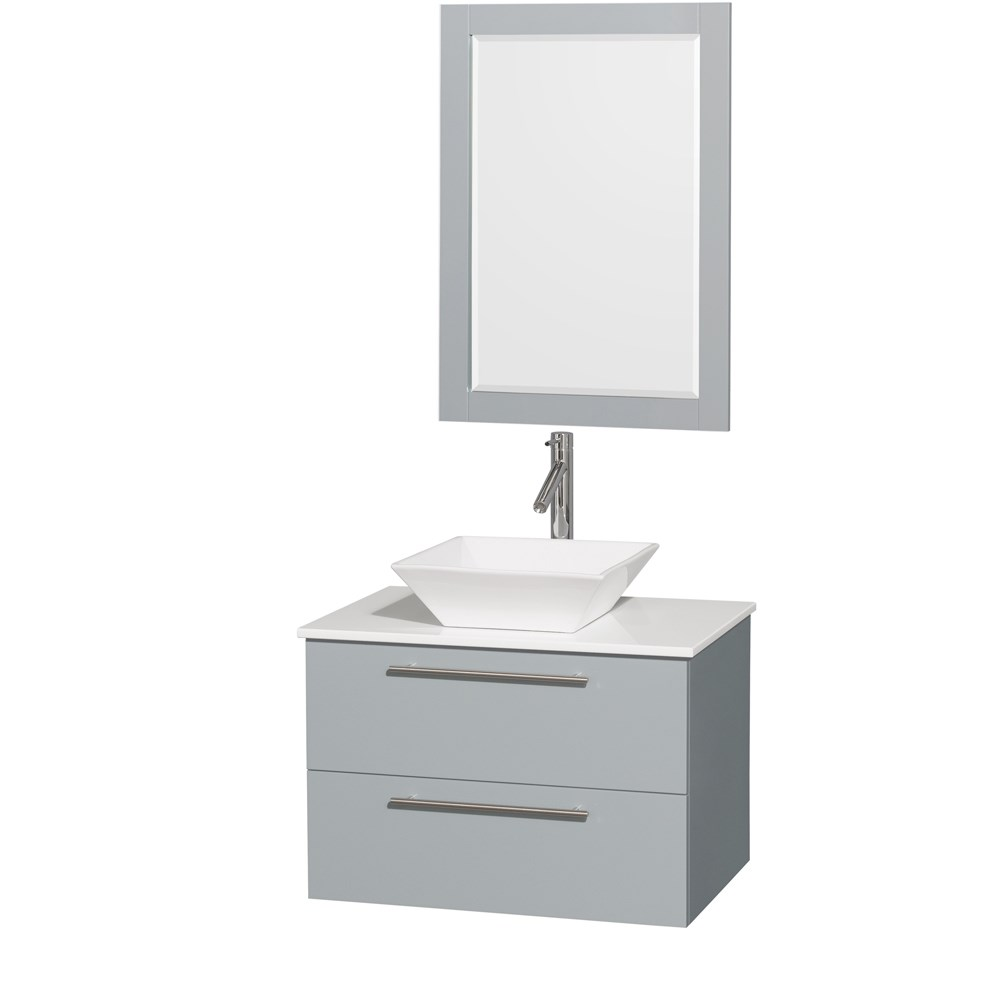 "Amare 30"" Wall-Mounted Bathroom Vanity Set with Vessel Sink by Wyndham Collection - Dove Gray WC-R4100-30-DVG"