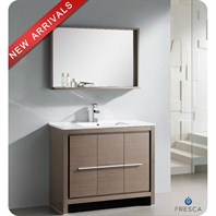 "Fresca Allier 40"" Gray Oak Modern Bathroom Vanity with Mirror FVN8140GO"