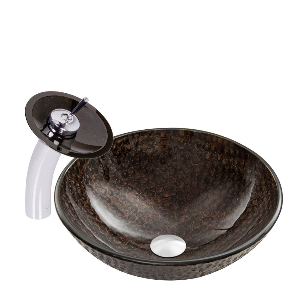 VIGO Copper Shield Glass Vessel Sink and Waterfall Faucet Setnohtin Sale $245.90 SKU: VGT058 :