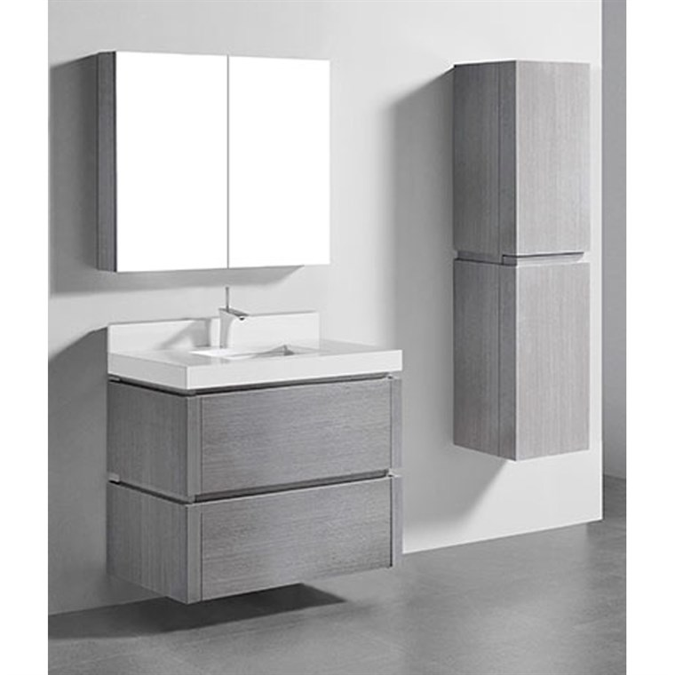 "Madeli Cube 36"" Wall-Mounted Bathroom Vanity for Quartzstone Top - Ash Grey B500-36-002-AG-QUARTZ"