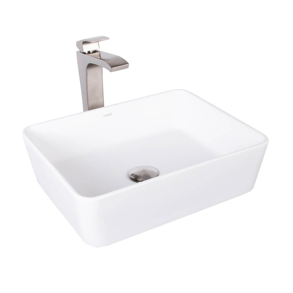 VIGO Sirena Matte Stone Vessel Sink and Blackstonian Bathroom Vessel Faucet in Brushed Nickelnohtin Sale $279.90 SKU: VGT1013 :