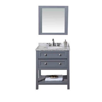 "Stufurhome Marla 30"" Single Sink Bathroom Vanity with Mirror, Grey HD-6868G-30-CR by Stufurhome"