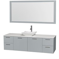 "Amare 72"" Wall-Mounted Single Bathroom Vanity Set with Vessel Sink by Wyndham Collection - Dove Gray WC-R4100-72-DVG-SGL"